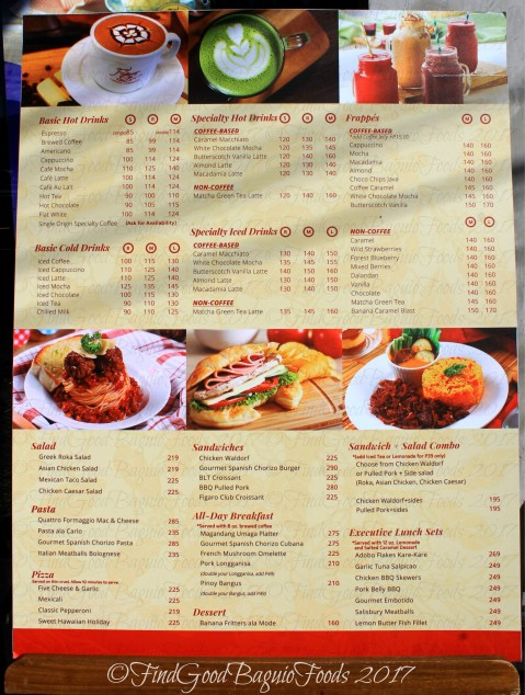 Baguio Figaro Coffee Company menu 2017