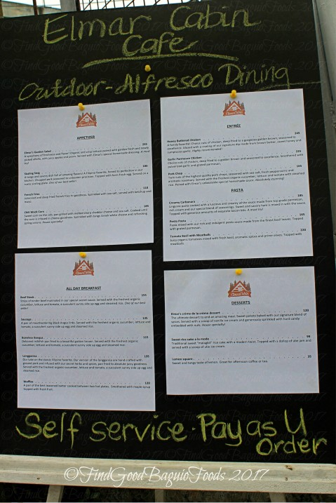 Baguio Elmar Cabin Cafe menu 2017