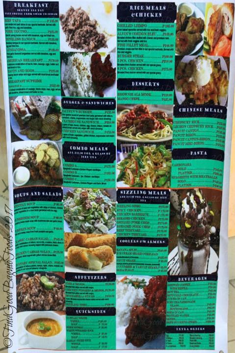Baguio Daysyn's Bistro menu 2017