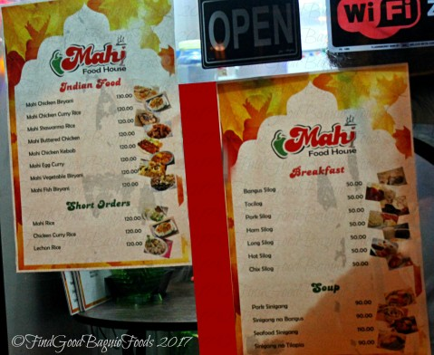 Baguio Mahi Food House menu 2017