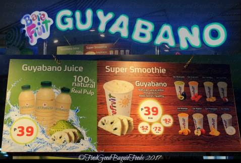 Baguio Barefruit Guyabano menu 2017