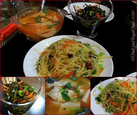Baguio Zhong Guo Si Chuan Restaurant tomato stewed bean skin, seaweed salad, marinated potatoes 2018