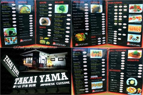 Baguio Takai Yama menu 2018
