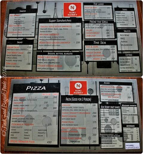 Baguio Koki Nonky menu 2018