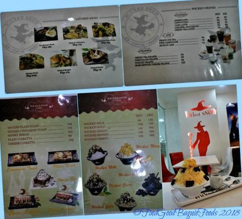 Baguio Wicked Snow menu 2018