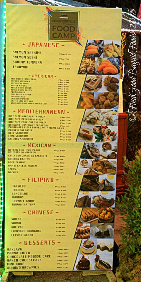 Baguio Country Club BCC Food Camp menu 2018
