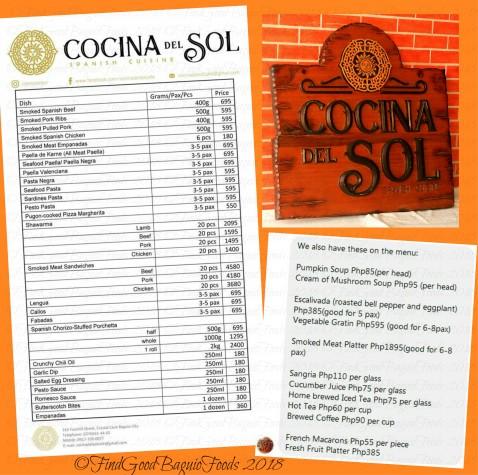 Baguio Cocina del Sol menu 2018