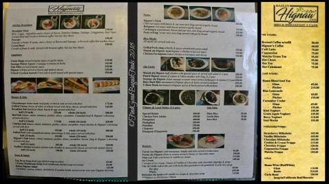 Baguio Bahay Hignaw Cafe menu 2018