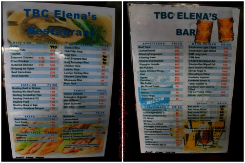 Baguio TBC Elena's Restaurant and Bar 2018 menu
