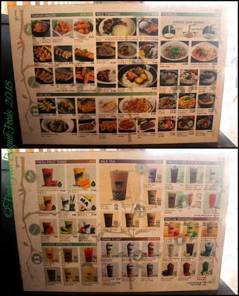 Baguio Ersao Taiwanese Restaurant 2018 menu