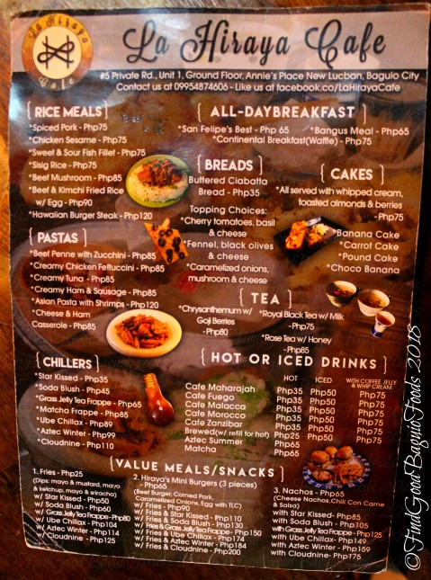 Baguio La Hiraya Cafe 2018 menu