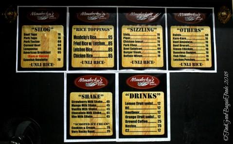 Baguio Muahcky's Bistro 2018 menu