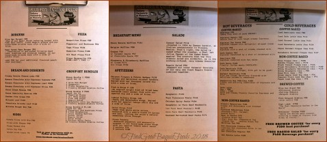 Baguio Kiva Han II Coffee House 2018 menu