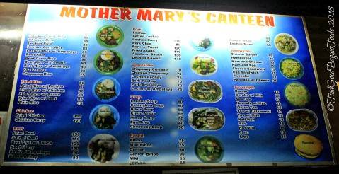 Baguio Mother Mary's Canteen 2018 menu