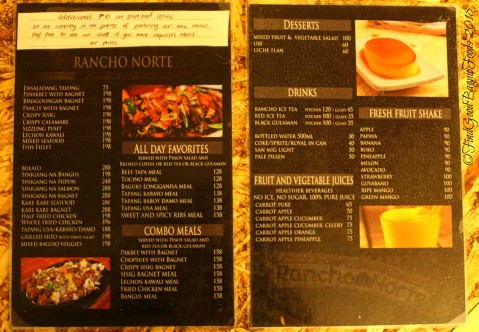 Baguio Rancho Norte 2018 menu
