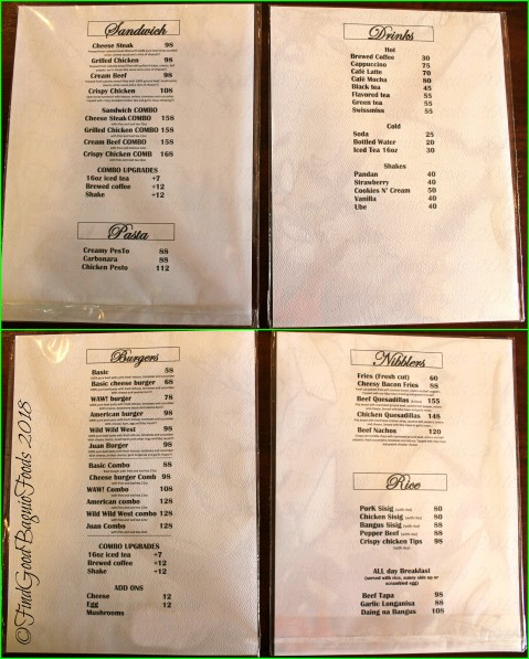 Baguio Pre-tea Belle's Cafe and Restaurant 2018 menu