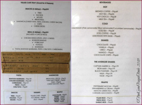 Baguio Yellie's Cafe 2018 menu