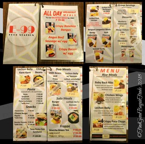 Baguio E99 Food Station 2018 menu