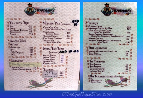 Baguio Seareniabay Cafe 2018 menu