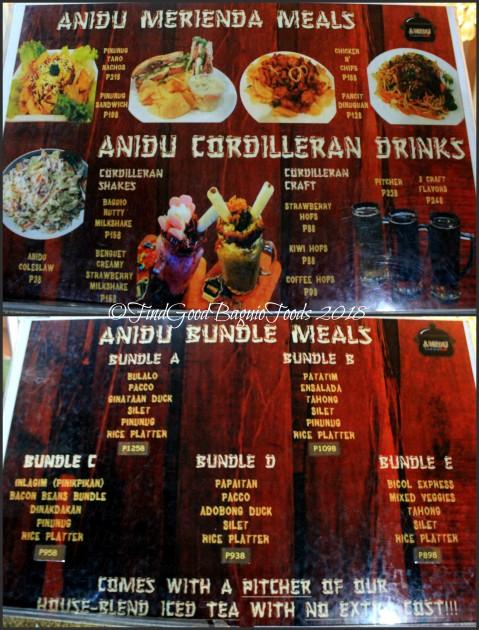 Baguio Anidu Cordilleran Bistro menu 2018
