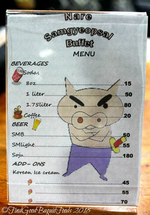 Baguio Nare Samgyeopsal Buffet drinks and add ons menu 2018