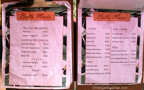 Baguio Bella Marie Cafe menu 2018