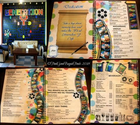 Baguio Generation Y Cafe menu 2018