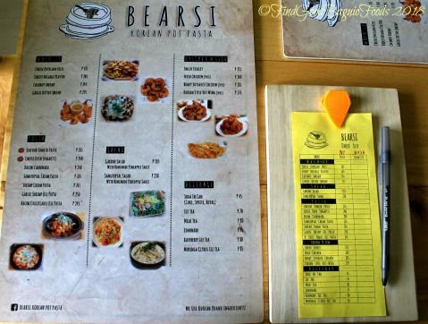 Baguio Bearsi Korean Pot Pasta menu 2018