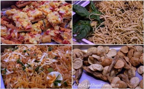 Baguio Aura 1 Hotel inhouse restaurant Hawaiian pizza, pesto pasta, palabok, fish balls and kikiam 2018