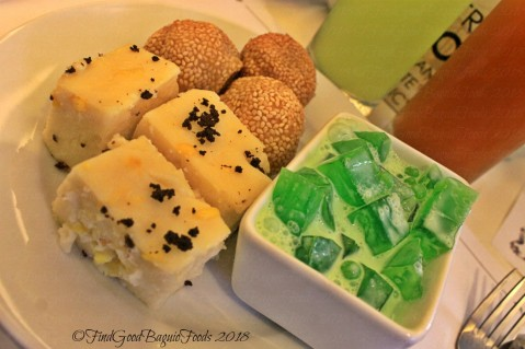 Baguio Aura 1 Hotel inhouse restaurant buchi, maja blanca, and buko pandan, lemon cucumber and iced tea for drinks 2018