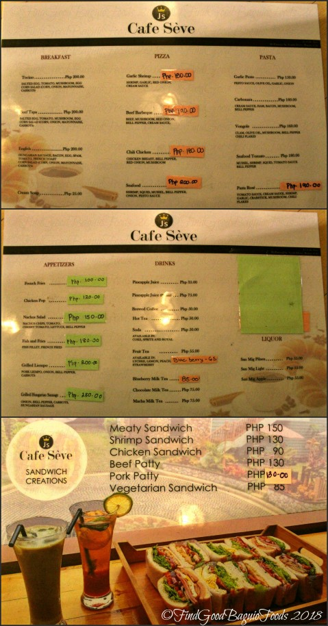 Baguio J's Cafe Seve at St. Patrick Village menu 2018
