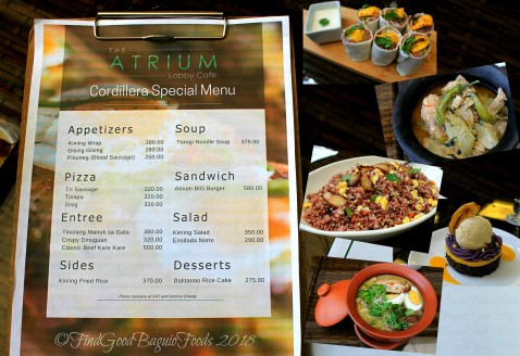 Baguio Atrium Lobby Cafe at Grand Sierra Pines Hotel September specials menu 2018