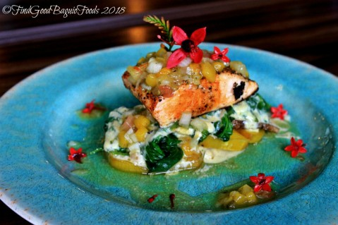 Baguio Flower Cafe at Villa Romana grilled salmon on bed of camote, gabi and spinach 2018