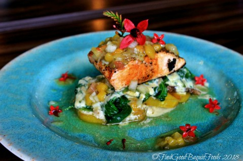 Baguio The Flower Cafe at Villa Romana Hotel grilled salmon on camote, gabi and spinach 2018