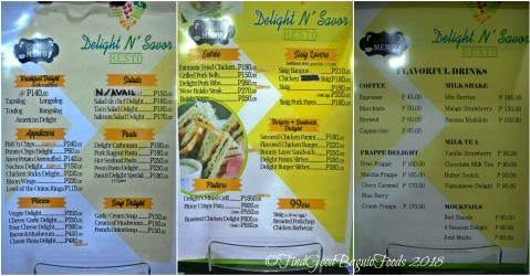 Baguio Delight N' Savor menu 2018