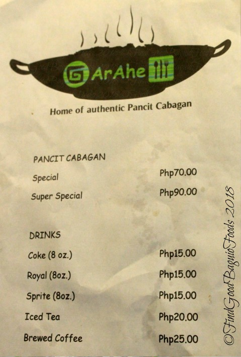 Garahe Home of Authentic Pancit Cabagan menu 2018
