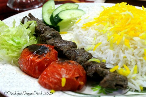 Baguio Amohosein Iranian Food and Beverages tika with rice (beef yogurt marinated) 2018