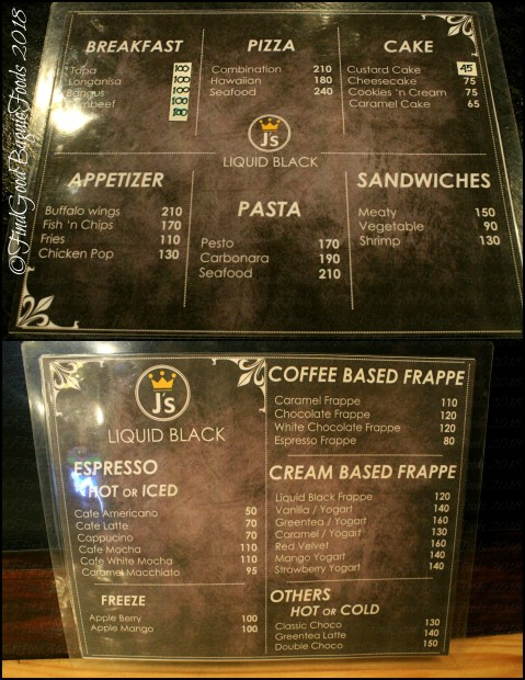 Baguio J's Liquid Black Cafe at 3BU Hostel menu 2018
