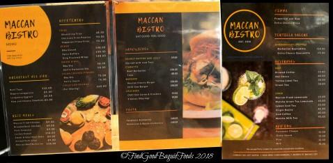 Baguio Maccan Bistro 2018 menu