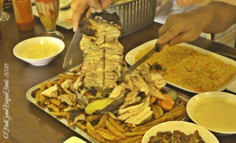 Baguio Elshabab Restaurant (Araby Restaurant) cross section of chicken shawarma stack 2018
