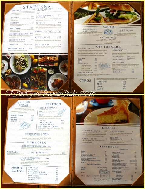Baguio Lemon and Olives Greek Taverna 2018 menu