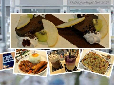 Baguio Meal Lab 2018 Malagos dark choco pate, arroz cubana, dark choco and blue tarnatea popping lemonade, flatbread pizza
