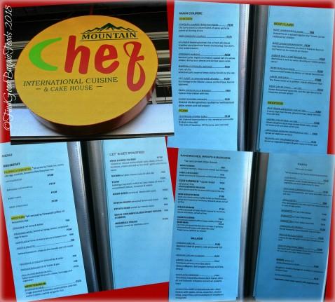 La Trinidad metro Baguio Mountain Chef International Cuisine and Cake House menu 2018