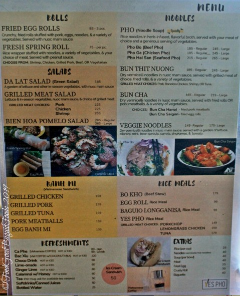 Baguio Yes Pho menu 2019