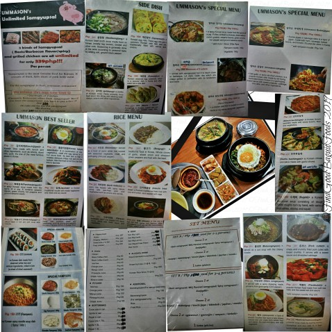 Baguio Ummason (Mother's Hand) Korean Restaurant menu 2019