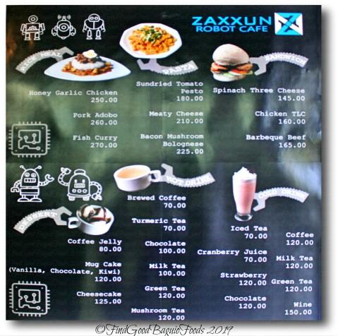 Tuba metro Baguio Zaxxun Robot Cafe menu 2019
