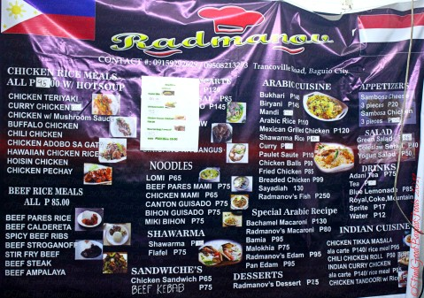 Baguio Radmanov Filipino-Arabian Food menu 2019