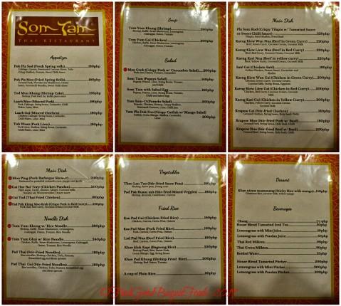 Baguio Somtam Thai Restaurant 2019 menu