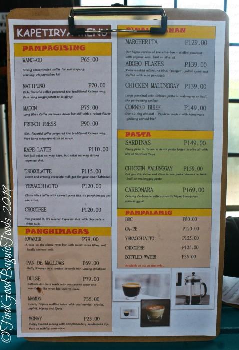 Baguio Kapetirya 2019 menu