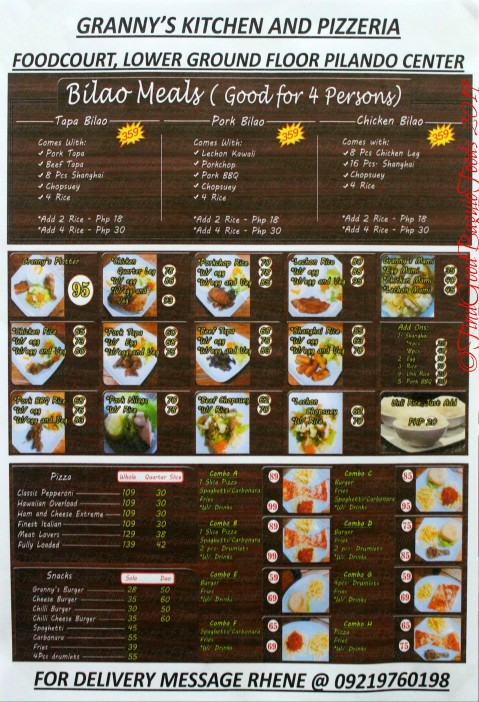 Baguio Granny's Kitchen and Pizzeria 2019 menu